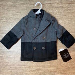 LONDON FOG Boys Faux Wool Coat with Hood